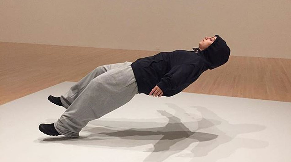levitating person